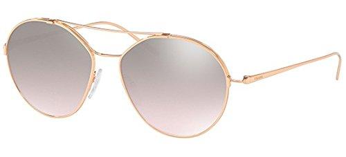 Prada Women's Round Aviator Sunglasses, Pink Gold/Brown Silver, One Size