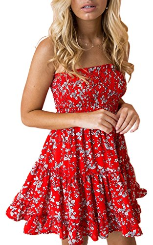 Angashion Women's Floral Strapless Pleated Flowy Skater Mini Tube Dress