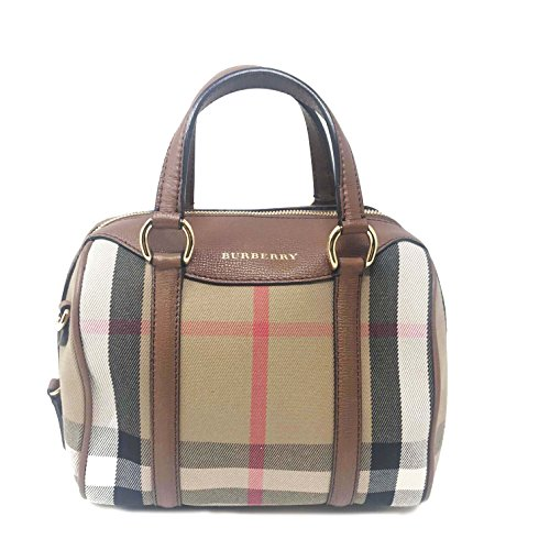 Burberry Women's Small Alchester in House Check and Leather Tan