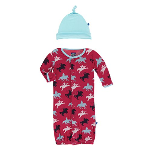 Kickee Pants Little Boys Print Layette Gown Converter & Knot Hat Set - Flag Red Cowboy, 0-3 Months