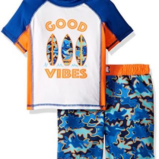 Baby Buns Toddler Boys' Two Piece Good Vibes Rashguard Swimsuit Set, Multi, 3T