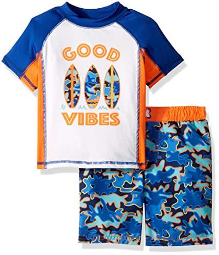 Baby Buns Toddler Boys' Two Piece Good Vibes Rashguard Swimsuit Set, Multi, 3T