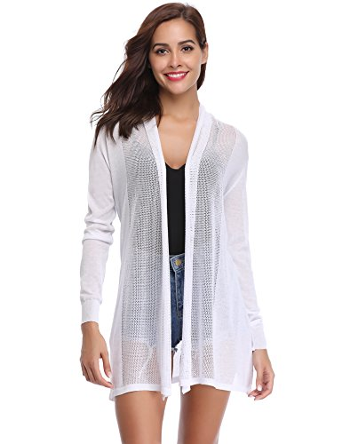 Abollria Womens Casual Long Sleeve Open Front Cardigan Sweater(White,M)