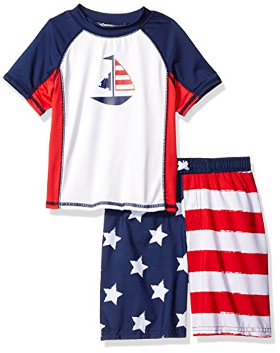 Baby Buns Little Boys' America Swim Set Rashguard, Multi, 4