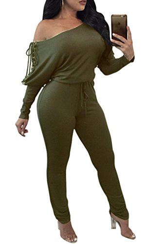 Fixmatti Lady Cold Shoulder Jumpsuit Long Sleeve Fishnet Lace up Cute Romper Green M