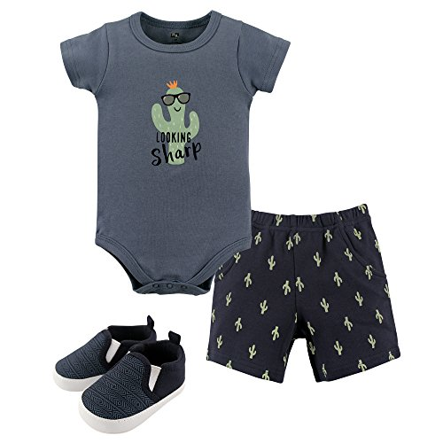 Hudson Baby Baby Cotton Bodysuit, Shorts and Shoe 3 Piece Set, Cactus, 0-3 Months