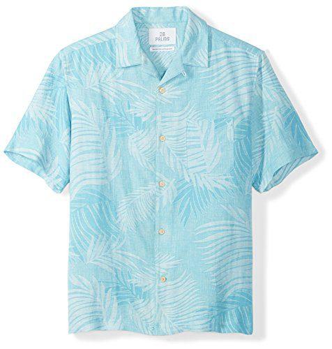 28 Palms Men's Relaxed-Fit Silk/Linen Tropical Leaves Jacquard Shirt, Blue Topaz, XX-Large