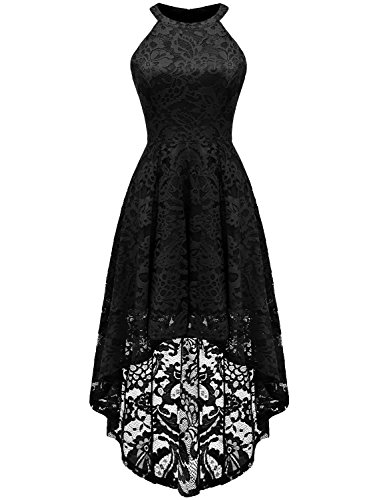 Dressystar 0028 Halter Floral Lace Cocktail Party Dress Hi-Lo Bridesmaid Dress M Black