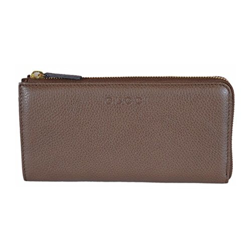 Gucci Women's Pebbled Leather Quarter Zip Wallet Brown