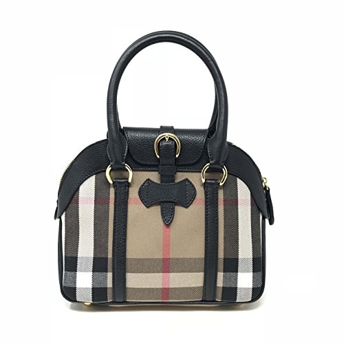 Burberry Small House Check Black Leather Ladies Satchel Purse
