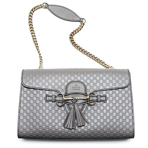 Gucci Emily GG Micro Shoulder Lousse Grey Gray Leather New Handbag
