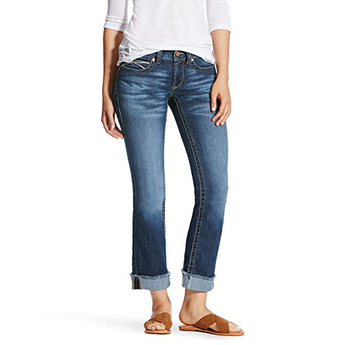 Ariat Womens R.E.A.L Mid Rise Baseball Stitch Stackable Straight Leg Jean 32 R Sundown