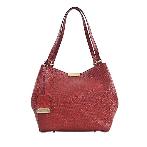 Burberry Women's Small Canter in Embossed Check Red