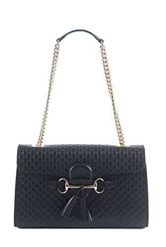 Gucci Women's Micro GG Guccissima Leather Emily Purse Handbag (Black)