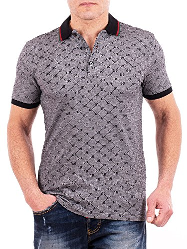 Gucci Polo Shirt, Mens Gray Short Sleeve Polo T- Shirt GG Print All Sizes (S)