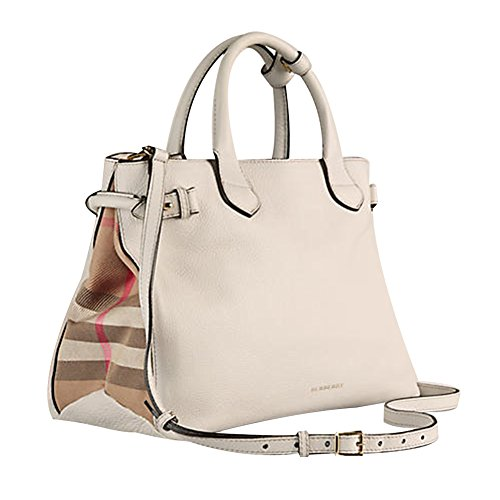 Tote Bag Handbag Authentic Burberry Medium Banner in Leather and House Check Natural Item