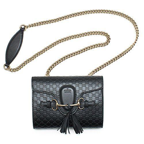 Gucci Emily Guccissima Mini Shoulder Bag Black Leather Handbag New