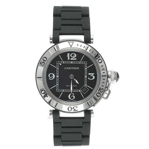 Cartier Men's Pasha Seatimer Automatic Stainless Steel and Rubber Watch