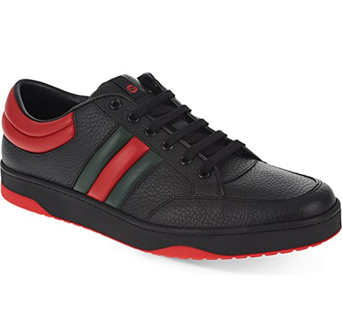 Gucci Men's Contrast Padded Textured Leather Lace-up Trainer Sneaker, Black (Nero) (9.5 US/9 UK)