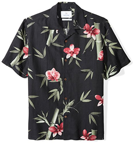 28 Palms Men's Relaxed-Fit Silk/Linen Hawaiian Shirt, Black Bamboo, Medium