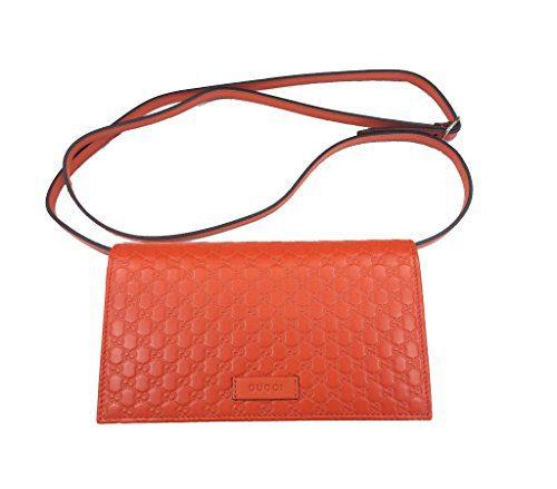 Gucci Women's Guccissima Leather Orange Shoulder Crossbody Clutch Bag