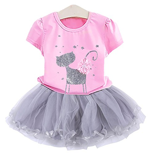 2Bunnies Girl Cat 3D Sequin Bow Sparkle Tutu Butterfly Tulle Skirt Dress Sets (4T, Bubblegum Pink)