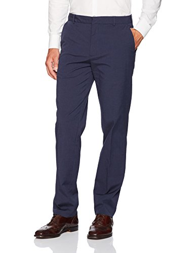 Van Heusen Men's Flat Front Oxford Chino, Blue Indigo, 34W x 30L