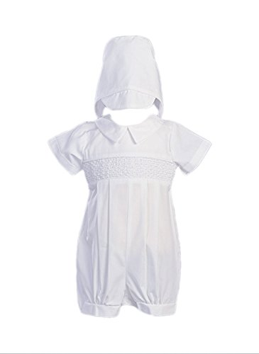 Boy's Smocked Cotton Christening Baptism Romper with Hat - Size XS (0-3 Month), White