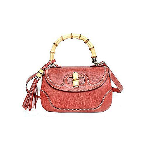 Gucci Bamboo Large Top Handle Bag Coral Red Leather Handbag Shoulderbag