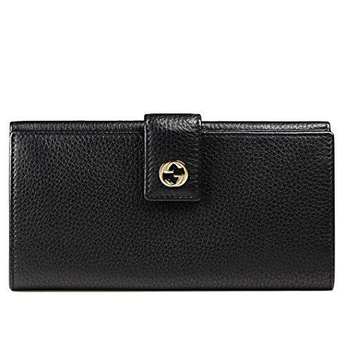 Gucci Wallet Miss GG Black Leather Interlocking Logo Detail
