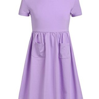 Arshiner Kids Girl O-Neck Short Sleeve Solid High Waist Button Pullover Dress Sl-purple 110(Age for 4-5Y)
