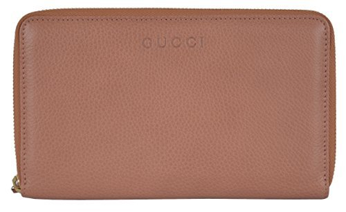 Gucci Women's Large Light Tan Textured Leather Zip Around Travel Wallet