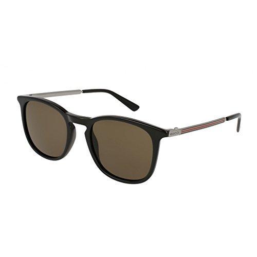 Gucci Black Plastic Square Sunglasses Brown Lens