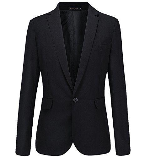 Mens Casual Slim Fit One Button Blazer Suit Jacket (M, Black)