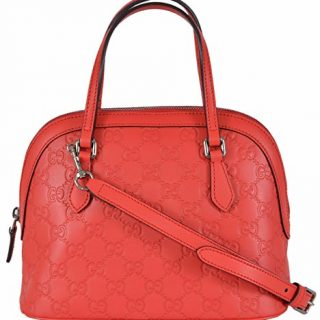 Gucci Women's GG Sporting Red Leather Convertible Crossbody Mini Dome Purse