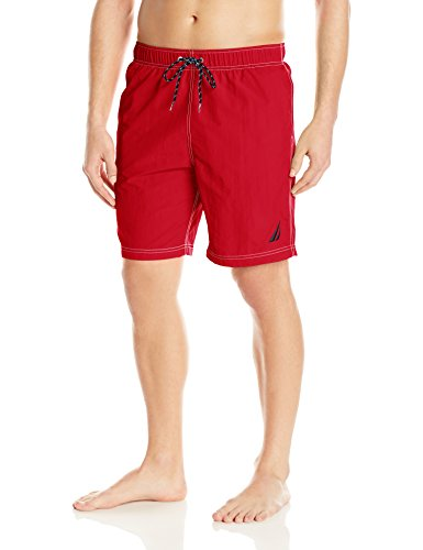 Nautica Men's Standard Solid Quick Dry Classic Logo Swim Trunk, Red, Medium