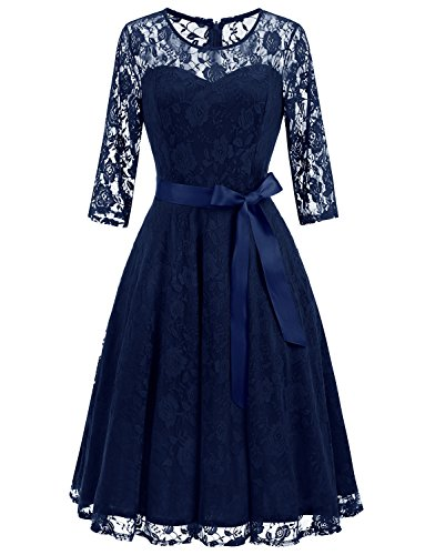 Dressystar 0017 Women's Elegant Floral Lace Dress 3/4 Sleeves Bridesmaid Midi Dresses Illusion Neckline Navy M