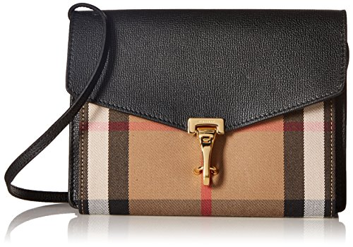 BURBERRY House Check Crossbody Bag , Black