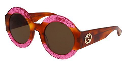 Gucci Fuchsia Havana Brown Glitter Sunglasses