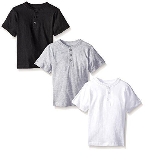 American Hawk Little Boys' Toddler 3 Piece Pack Henley Shirt, White/Black/Heather Grey, 4T/4