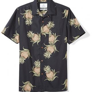 28 Palms Men's Standard-Fit 100% Cotton Hawaiian Shirt, Black Pineapple, Large