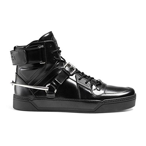 Gucci Men's Black Shiny Leather GG Horsebit High Top Sneakers Shoes, Black, US 12.5 11.5