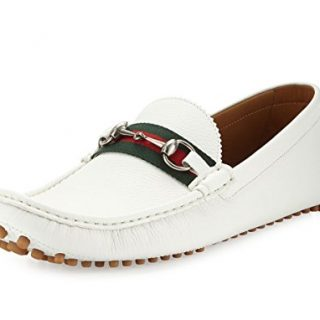 Gucci Men's 'Damo' Leather Horsebit Driver, White (11.5 US/11 UK)