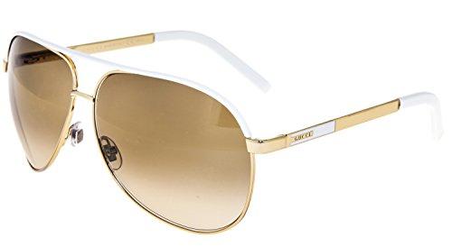 GUCCI Aviator Gold Metal White Sunglasses Brown Gradient