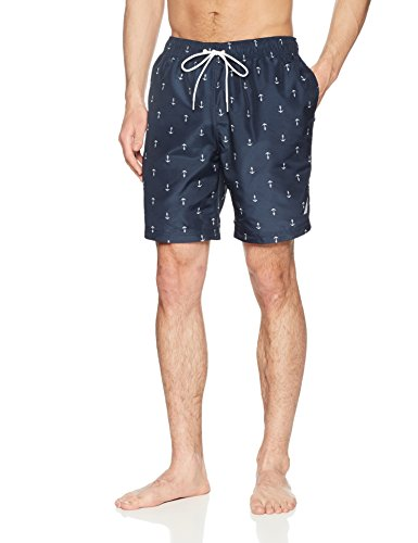 Nautica Men's Quick Dry All Over Classic Anchor Print Swim Trunk, Navy, Small