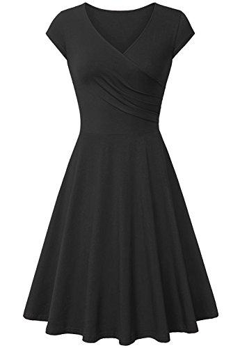 AUSELILY Women's Cotton Cap Sleeve V Neck Casual A Line Elegant Bodycon Dress (L, Black)
