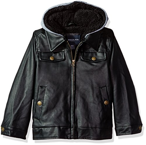 London Fog Baby Toddler Boys' Faux Leather Bomber Jacket With Hood, Black, 2T