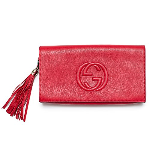 Gucci Soho Leather Clutch Envelope Red Bag Tassel Handbag Bag Purse Italy New