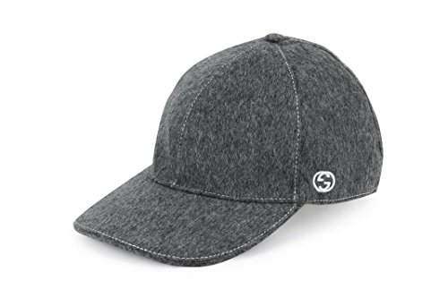 Gucci Signature Web Stripe Wool Baseball Cap, Charcoal (L (Large))