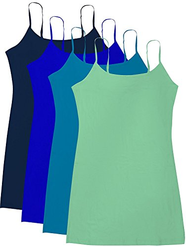 Active Basic Junior Women's Casual Plain Layering Camisole Cami Top Tank - 4 Pack Navy Royal Trq Mint, L